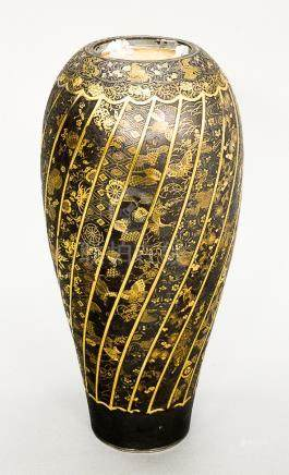 Komai damascene mixed metal plum vase, overall gold and silv