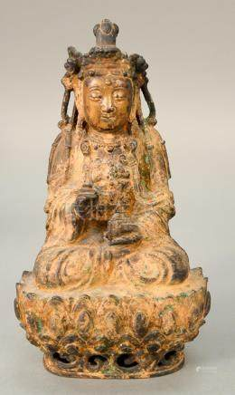 Chinese bronze figure of a seated Buddha on a lotus form bas