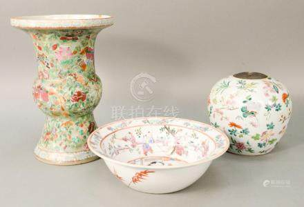 Three piece lot to include a Famille Rose basin, China 19th