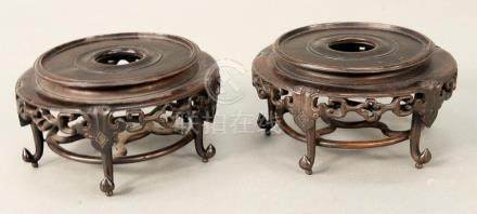 Pair of teakwood footed bases/stands, China probably 19th ce