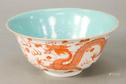 Dragon bowl, China, 20th century, decorated with orange, fiv