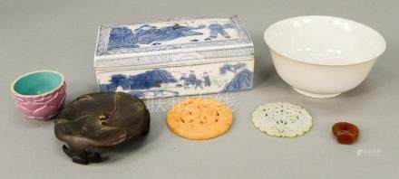 Seven Chinese items to include blue and white covered box, C