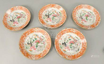 Group of five Famille Rose export plates, China, 18th centur