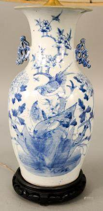 Blue and white Chinese porcelain vase, baluster form with fl