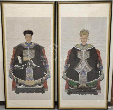 Pair of large framed ancestral portraits, color on paper, bo