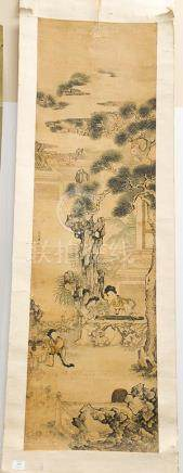 Scroll painting of women, ink and color on silk, depicting a
