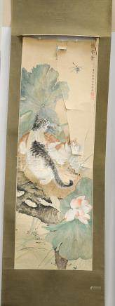 Scroll painting of cats, ink and color on paper of two cats