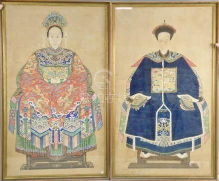 Pair of large framed ancestor portraits, color on silk, both