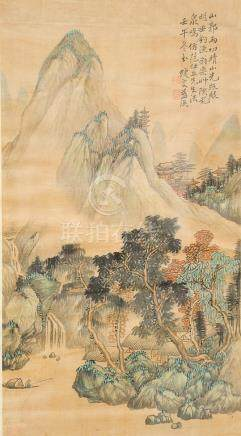 Chinese watercolor on silk, mountainous landscape signed top