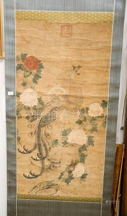 Large scroll painting of white phoenix (feng-huang) and red