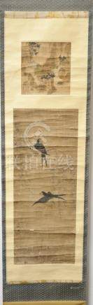 Two panel scroll painting, ink and color on paper, the top p