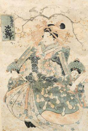 Japanese woodblock of a geisha, 18th or 19th century. sight