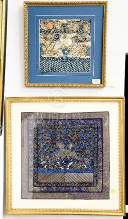 Two piece lot to include framed embroidered textile of white
