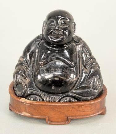 Hardstone seated Buddha, China 20th century, with custom-fit