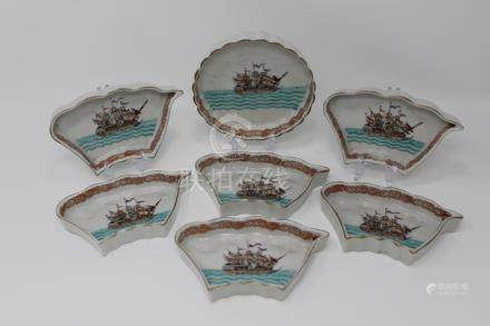 (7) Pc. Chinese Export Porcelain Naval Ship Dishes
