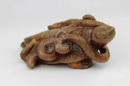 Chinese Carved Brown & Green Jade Turtle & Snake