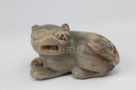 Antique Chinese Carved Celadon & Brown Jade Dog