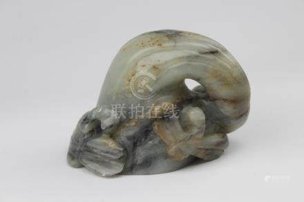 Antique Chinese Carved Jade Eggplant Carving