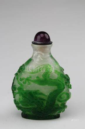 Chinese Carved Cameo Overlay Style Snuff Bottle