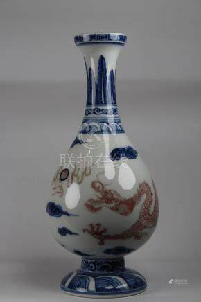 Chinese Porcelain Blue & Red Vase w/ Dragon Motif