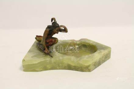 Onyx ashtray with painted bronze figure