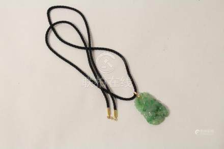 Chinese natural color jadeite pendant, w/ 14K hook