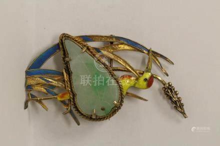 beautiful Chinese antique enamel silver jadeite brooch