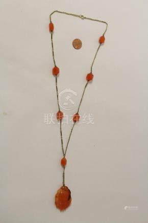 Chinese carnelian pendant w/ 14K & carnelian bead necklace