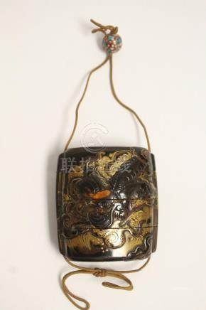 Japanese antique 4-section inro w/ a porcelain ojime bead