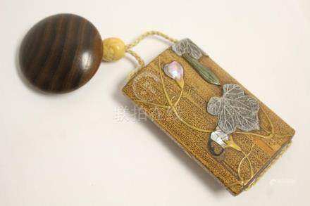 Japanese antique ? w/ an ojime bead & a wood ornament