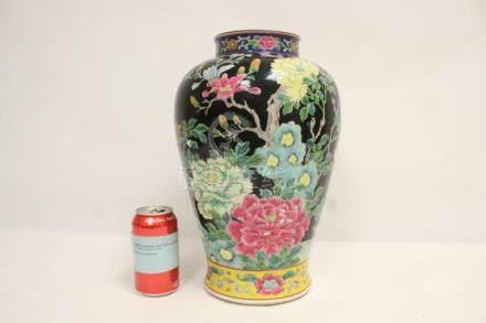 Chinese antique black background famille rose vase