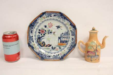 Chinese antique famille rose wine server, & a plate