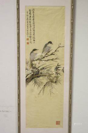 A fine Chinese framed watercolor painting