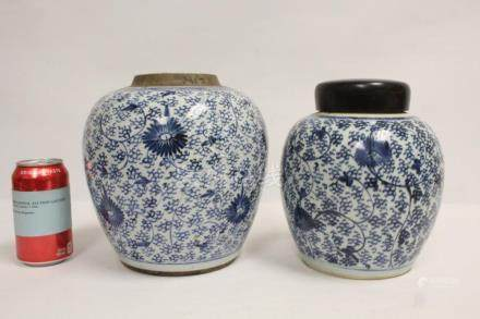 2 Chinese 18th c. blue and white porcelain jars