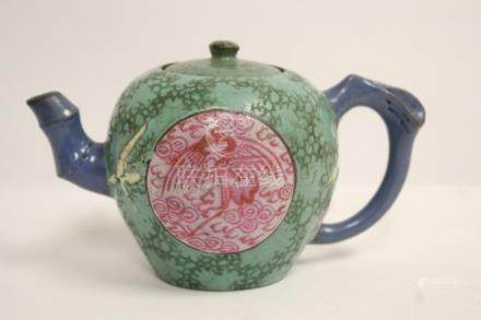 A fine Chinese vintage painted Yixing teapot