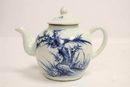 Chinese 19th/20th c. blue and white porcelain teapot