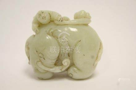 beautiful Chinese antique white jade carving