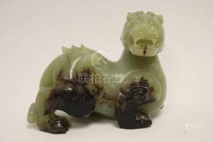 Chinese vintage celadon jade carved qilin