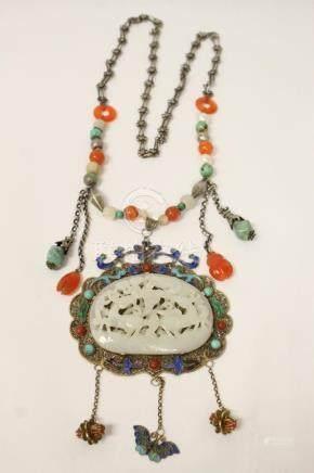 pendant w/ jade plaque on enamel silver back