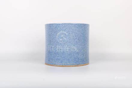 Chinese Blue Glazed Porcelain Brush Pot