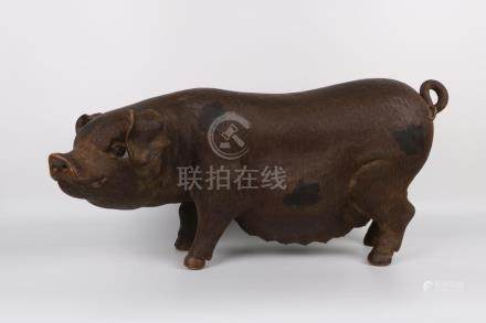 Chinese Purple Clay Pig Statue