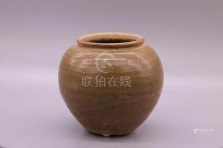 Chinese Brown Glazed Porcelain Pot Or Jar
