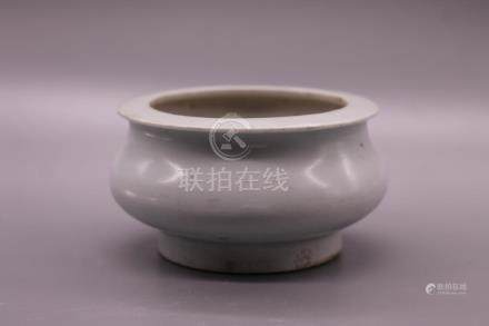 Chinese White Glazed Porcelain Incense Burner.