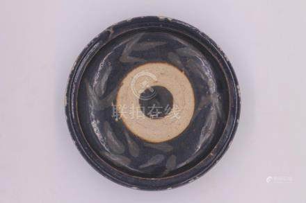 Chinese Black Glazed Porcelain Plate With Bamboo Leaves Patt