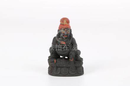 Chinese black stone engraved sculpture