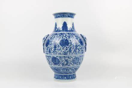 Chinese blue and white double ears vase