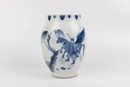 Chinese blue and white figure pattern jar