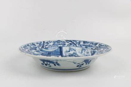 Chinese blue and white figure pattern plate