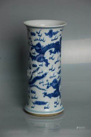 Chinese Blue & White Vase with blue Ocean ground and dragon