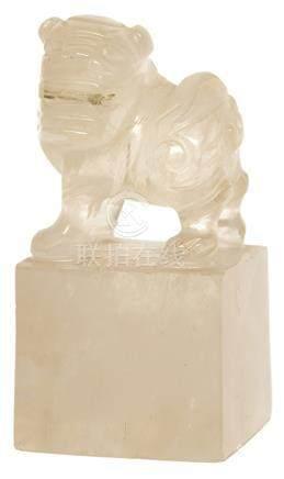水晶獅紐方形印材